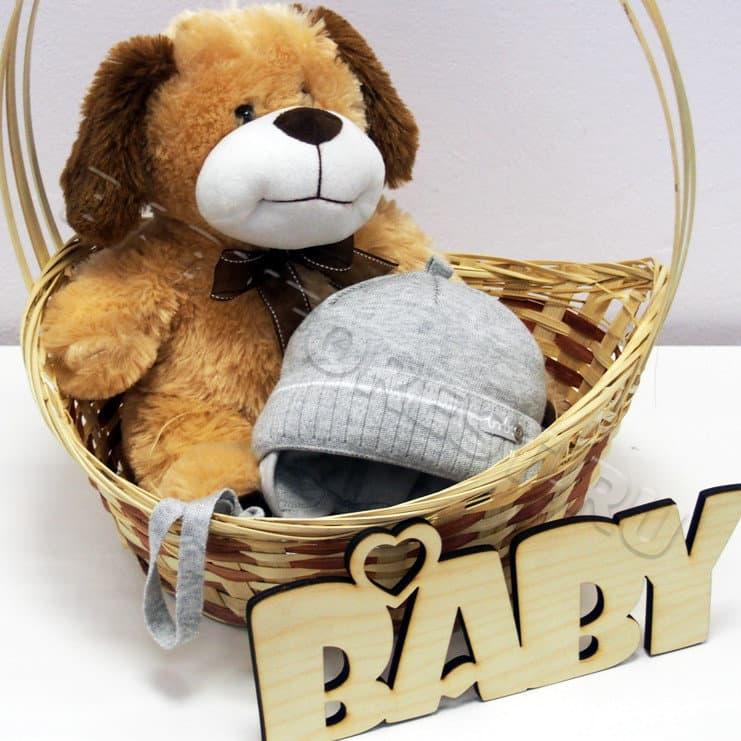 серая вязаная шапка для новорожденного осень купить недорого