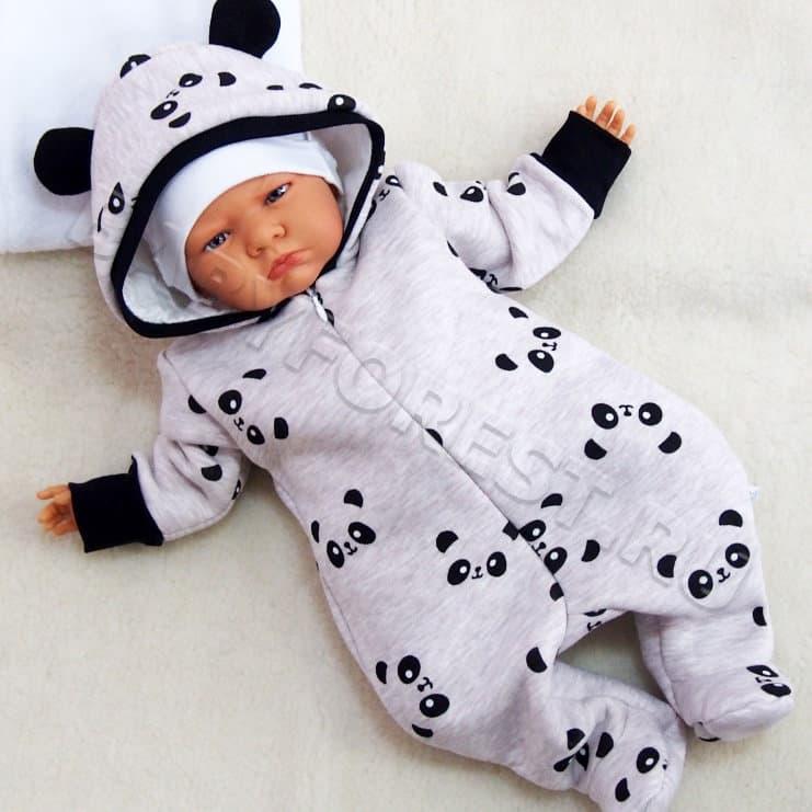 490e26954f2f Теплый комбинезон для малышей Панды бежевый купить в Москве