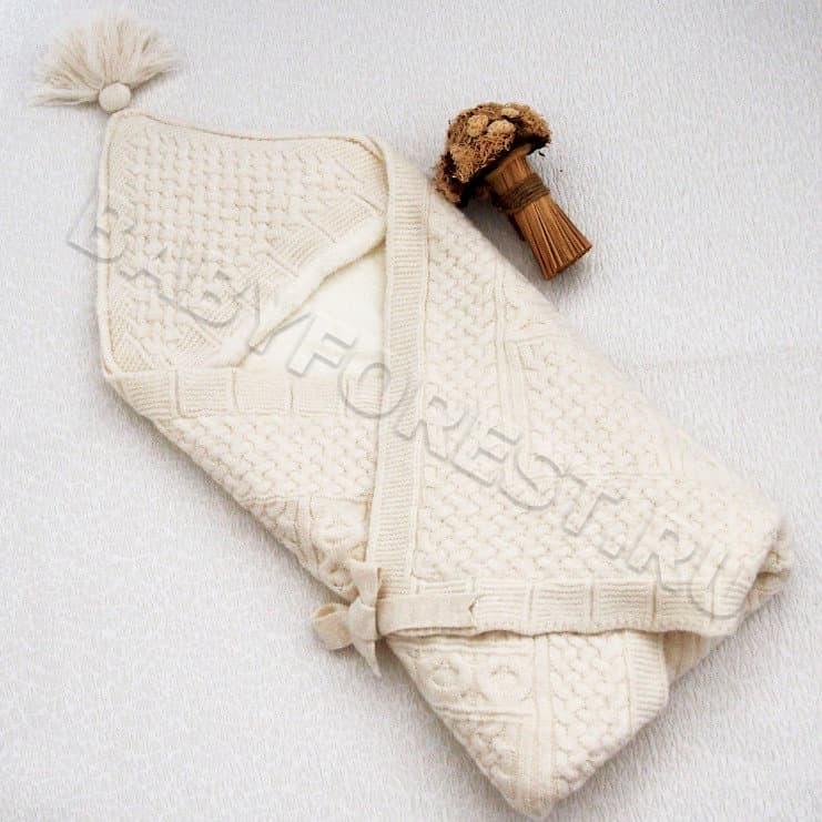 вязаный конверт одеяло на выписку купить интернет магазин